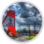 Round Beach Towel featuring the photograph The Big Chicken by Reid Callaway