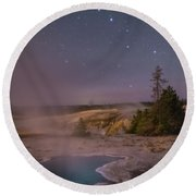 The Big Dipper In Yellowstone National Park Round Beach Towel