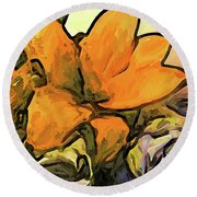 The Big Gold Flower And The White Roses Round Beach Towel