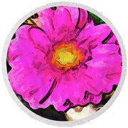 The Big Pink And Yellow Flower In The Little Vase Round Beach Towel