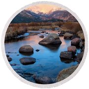 The Big Thompson River Flows Through Rocky Mountain National Par Round Beach Towel