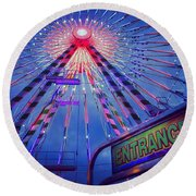 Round Beach Towel featuring the photograph The Big Wheel by Heidi Hermes