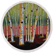 The Birch Forest - Landscape Painting Round Beach Towel