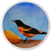 The Bird And Orange Round Beach Towel by Laura Forde