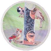 The Bird Feeder Round Beach Towel