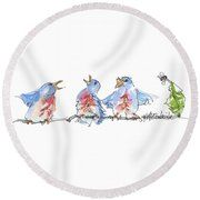 The Birds And The Bee Bird Art Watercolor Painting By Kmcelwaine Round Beach Towel