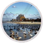 Round Beach Towel featuring the photograph The Birds by Jim Hill