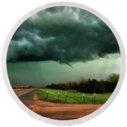 The Birth Of A Funnel Cloud Round Beach Towel