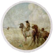 The Bison Hunters Round Beach Towel by Nathaniel Hughes John Baird