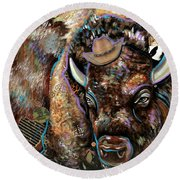 The Bison Round Beach Towel