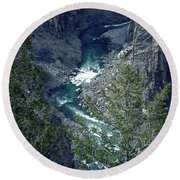 The Black Canyon Of The Gunnison Round Beach Towel by RC DeWinter