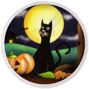 The Black Cat Round Beach Towel by Alessandro Della Pietra