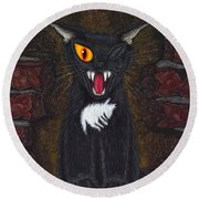 The Black Cat Edgar Allan Poe Round Beach Towel