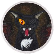 Round Beach Towel featuring the painting The Black Cat Edgar Allan Poe by Carrie Hawks