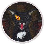 The Black Cat Edgar Allan Poe Round Beach Towel