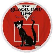 The Black Cat Rag 1905 Sheet Music Art Round Beach Towel