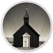Round Beach Towel featuring the photograph The Black Church by Edward Fielding