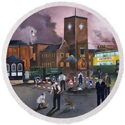 Round Beach Towel featuring the painting Dudley Trolley Bus Terminus 1950's by Ken Wood