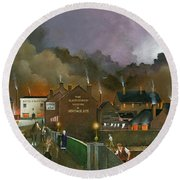 Round Beach Towel featuring the painting The Black Country Museum 2 by Ken Wood