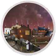 Round Beach Towel featuring the painting The Black Country Museum by Ken Wood