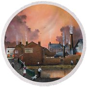 Round Beach Towel featuring the painting The Black Country Village by Ken Wood