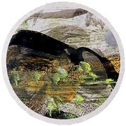 The Black Mountain Round Beach Towel by Nancy Kane Chapman