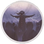 Round Beach Towel featuring the painting The Black Wizard by Tithi Luadthong