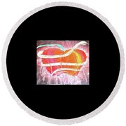 The Bleeding Heart Of The Illuminated Forbidden Fruit Round Beach Towel