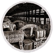 The Blower House At Bethlehem Steel  Round Beach Towel