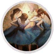 The Blue Ballerinas - A Edgar Degas Artwork Adaptation Round Beach Towel