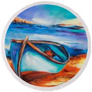 Round Beach Towel featuring the painting The Blue Boat by Elise Palmigiani