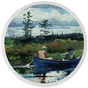 The Blue Boat Round Beach Towel
