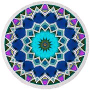 Round Beach Towel featuring the digital art The Blue Collective 01a by Wendy J St Christopher