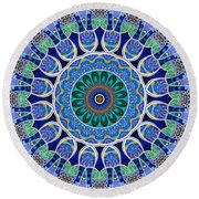 The Blue Collective 02a Round Beach Towel by Wendy J St Christopher