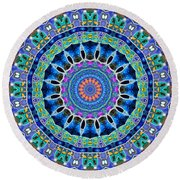 Round Beach Towel featuring the digital art The Blue Collective 03a by Wendy J St Christopher