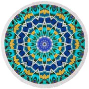 Round Beach Towel featuring the digital art The Blue Collective 04a by Wendy J St Christopher