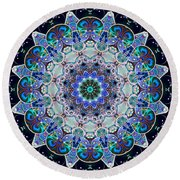 Round Beach Towel featuring the digital art The Blue Collective 05a by Wendy J St Christopher