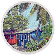 The Blue Cottage Round Beach Towel