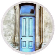 Round Beach Towel featuring the painting The Blue Door by Edward Fielding