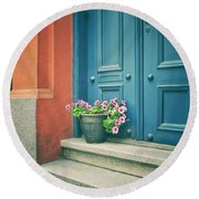 The Blue Door Round Beach Towel by Karen Stahlros