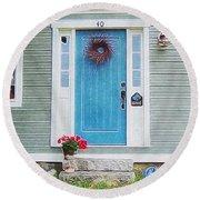 The Blue Door Round Beach Towel