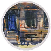 The Blue Door, New York Round Beach Towel by Kristina Vardazaryan