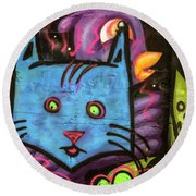 The Blue Face Round Beach Towel