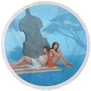 The Blue Garden Round Beach Towel