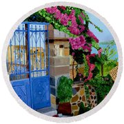 Round Beach Towel featuring the painting The Blue Gate  by Rodney Campbell