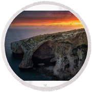The Blue Grotto Round Beach Towel
