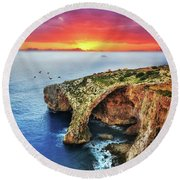 The Blue Grotto At Sunset In Malta Round Beach Towel by Stephan Grixti