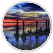 The Blue Hour Comes To St. Marks #2 Round Beach Towel