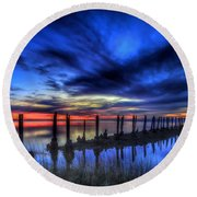The Blue Hour Comes To St. Marks #1 Round Beach Towel