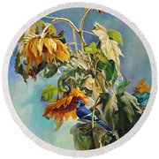 Round Beach Towel featuring the painting The Blue Jay Who Came To Breakfast by Svitozar Nenyuk